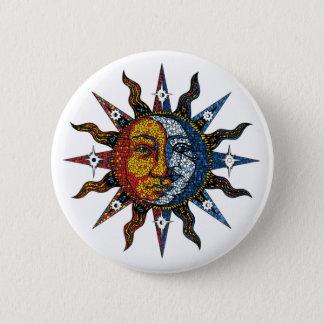 Bóton Redondo 5.08cm Mosaico celestial Sun e lua