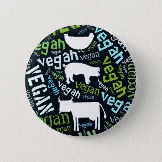 """Bóton Redondo 5.08cm Mosaico da Palavra-Nuvem do """"Vegan"""" com porco,"""