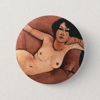 Bóton Redondo 5.08cm Mulher de Amedeo Modigliani em um sofá