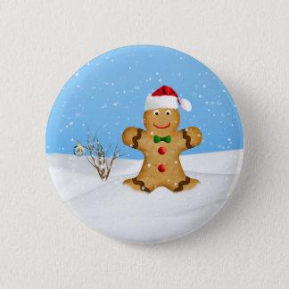 Bóton Redondo 5.08cm Natal, homem de pão-de-espécie feliz na neve