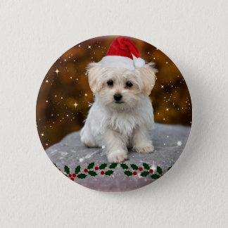 Bóton Redondo 5.08cm Natal maltês do filhote de cachorro