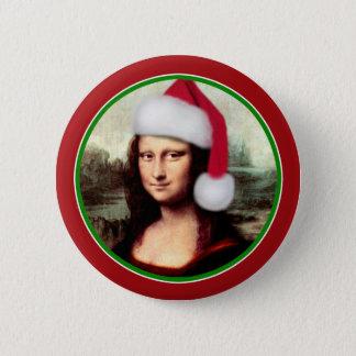Bóton Redondo 5.08cm Natal Mona Lisa com chapéu do papai noel
