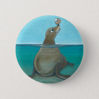 """Bóton Redondo 5.08cm """"Nautilus"""" o leão de mar"""