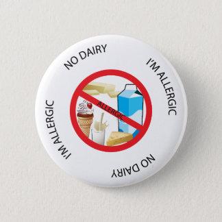 Bóton Redondo 5.08cm Nenhum botão do alerta da alergia da leiteria