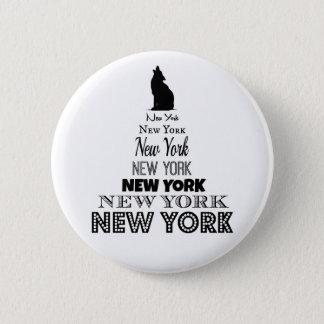 Bóton Redondo 5.08cm New York que urra, chacal do cão, lobo - amor NY
