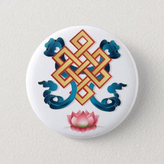 Bóton Redondo 5.08cm Nó infinito do símbolo da religião do Mongolian