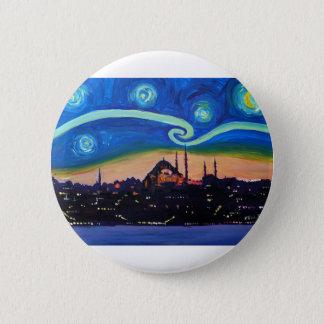 Bóton Redondo 5.08cm Noite estrelado em Istambul Turquia