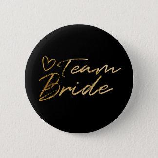 Bóton Redondo 5.08cm Noiva da equipe - botão da folha do falso do ouro