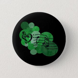 Bóton Redondo 5.08cm Notas e bolinhas da música - verde-clara