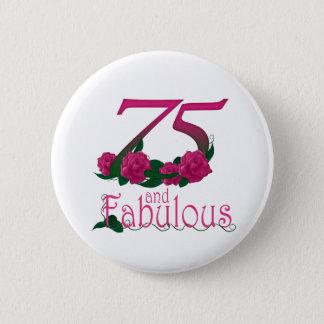Bóton Redondo 5.08cm número floral cor-de-rosa fabuloso da idade do