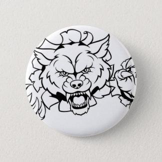Bóton Redondo 5.08cm O animal do lobo ostenta a mascote que quebra o