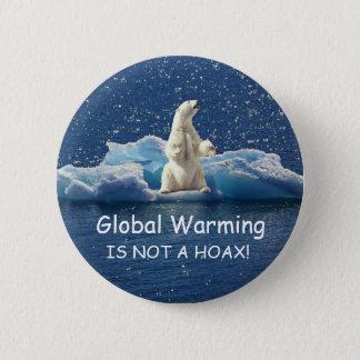 Bóton Redondo 5.08cm O AQUECIMENTO GLOBAL NÃO É UM EMBUSTE, urso polar