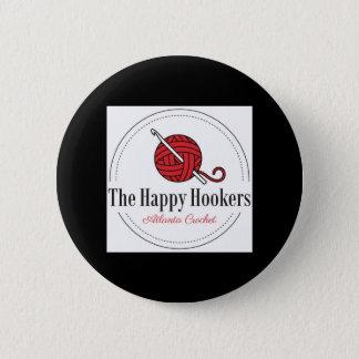 Bóton Redondo 5.08cm O Botão-Preto feliz do logotipo do Crochet de H