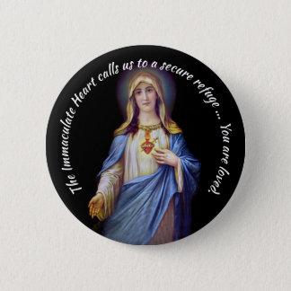 Bóton Redondo 5.08cm O coração imaculado do botão de Mary