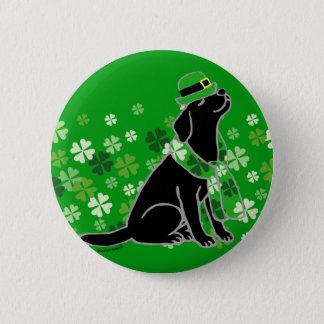 Bóton Redondo 5.08cm O dia Labrador preto à moda de St Patrick