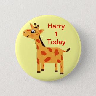 Bóton Redondo 5.08cm O girafa bonito da selva personalizou o bumbum da