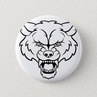 Bóton Redondo 5.08cm O lobo ostenta a cara irritada da mascote