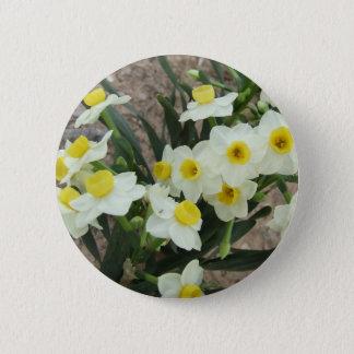 Bóton Redondo 5.08cm O narciso branco floresce o botão
