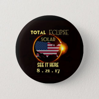 Bóton Redondo 5.08cm O partido total do eclipse solar abotoa o 21 de