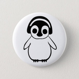 Bóton Redondo 5.08cm O pinguim escuta o crachá da música