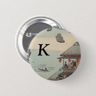 Bóton Redondo 5.08cm O porto em Kanagawa, Japão: Monograma