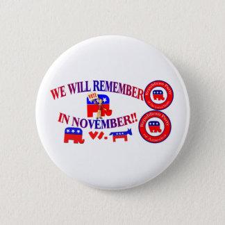 Bóton Redondo 5.08cm O republicano recorda em novembro anti ObamaCare