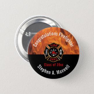 Bóton Redondo 5.08cm O sapador-bombeiro dos parabéns arde o nome da