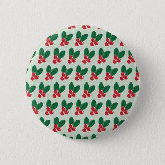 Bóton Redondo 5.08cm O verde vermelho das bagas do Natal deixa o teste