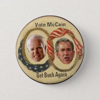 Bóton Redondo 5.08cm O voto McCain obtem Bush abotoa-se outra vez