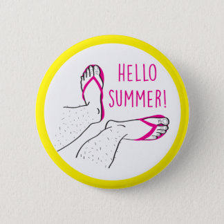 Bóton Redondo 5.08cm Olá! crachá peludo dos pés do verão