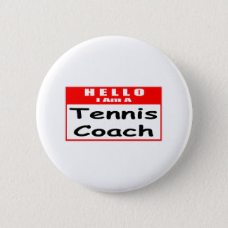 Bóton Redondo 5.08cm Olá!, eu sou um Nametag do treinador de tênis…