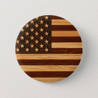 Bóton Redondo 5.08cm Olhar de bambu & bandeira americana gravada dos