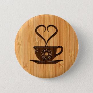 Bóton Redondo 5.08cm Olhar de bambu & café bonito gravado do amor de I