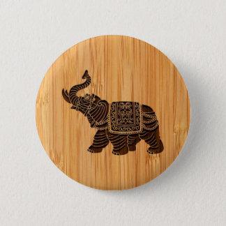 Bóton Redondo 5.08cm Olhar de bambu & elefante tailandês retro gravado