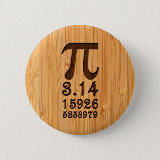 Bóton Redondo 5.08cm Olhar de bambu & números gravados do Pi