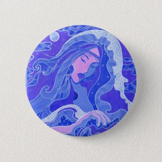 Bóton Redondo 5.08cm Onda, sereia, menina da arte da fantasia, azul &