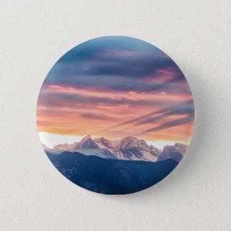 Bóton Redondo 5.08cm Ondas do por do sol da montanha rochosa de