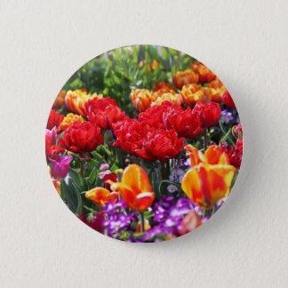 Bóton Redondo 5.08cm Ondas florais dos carmesins de Falln