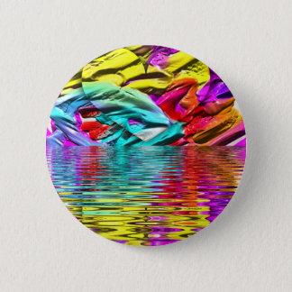 Bóton Redondo 5.08cm Ondinhas florescentes legal da água do abstrato do