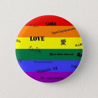 """Bóton Redondo 5.08cm Orgulho de GLBT: """"Amor"""" em muitas línguas"""