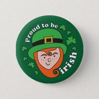 Bóton Redondo 5.08cm Orgulhoso ser irlandês - botão do Leprechaun