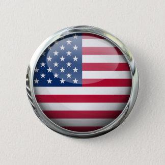 Bóton Redondo 5.08cm Os Estados Unidos embandeiram a bola de vidro