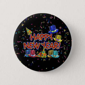 Bóton Redondo 5.08cm Os felizes anos novos dos chapéus & os confetes do