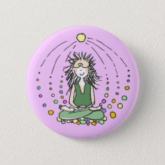 Bóton Redondo 5.08cm os lótus da menina da ioga da meditação levantam o