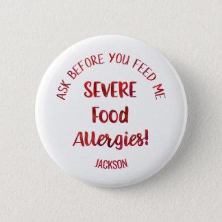 Bóton Redondo 5.08cm Os miúdos severos das alergias de comida