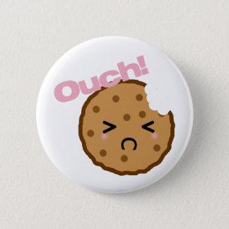 """Bóton Redondo 5.08cm """"Ouch! """"diz o biscoito de Kawaii"""