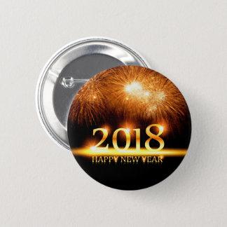 Bóton Redondo 5.08cm Ouro botão de 2018 fogos-de-artifício do feliz ano