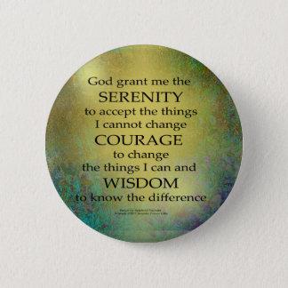 Bóton Redondo 5.08cm Ouro da oração da serenidade em azul esverdeado