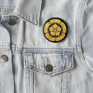 Bóton Redondo 5.08cm Ouro japonês do falso do clã do samurai do Oda