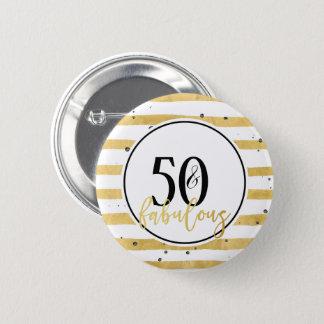 Bóton Redondo 5.08cm Ouro moderno 50 & botão fabuloso dos confetes do
